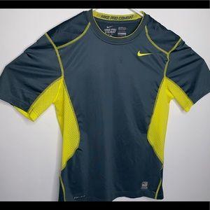 Nike Pro Combat Gray/Volt Short Sleeve Gym Shirt